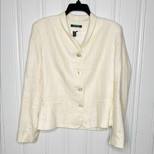 Lauren Ralph Lauren Cream Linen Blazer Jacket 16